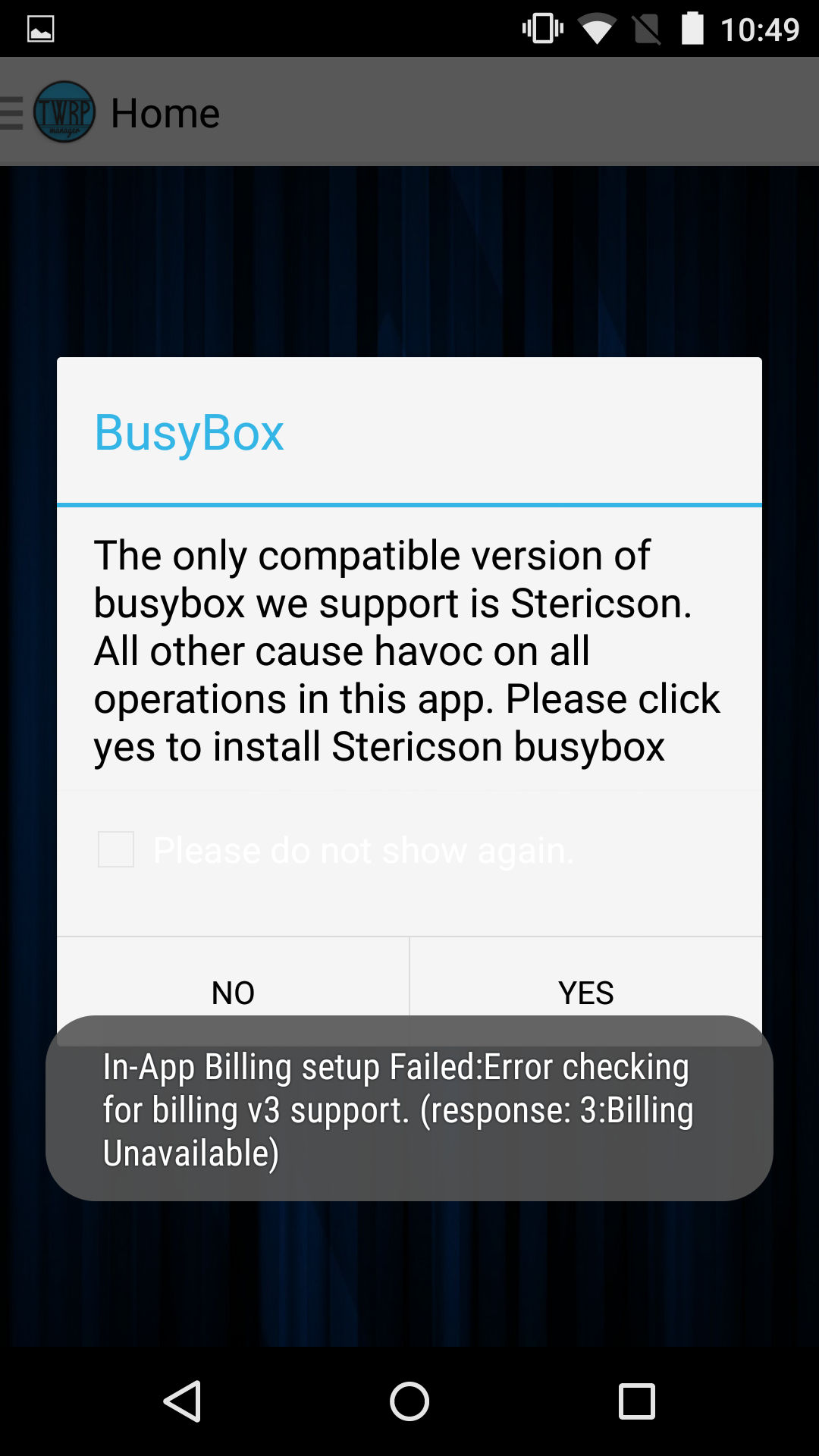 busybox free space unavailable for system xbin