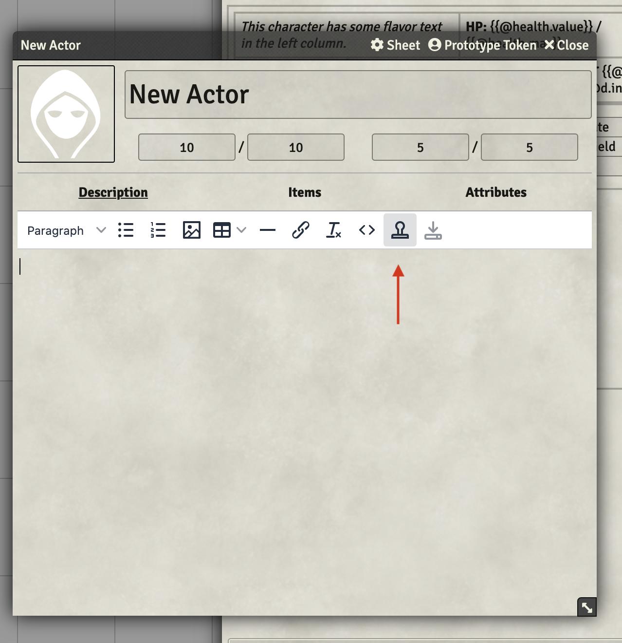 Screenshot of the template widget